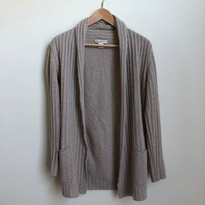 Cashmere open cable knit pocket cardigan